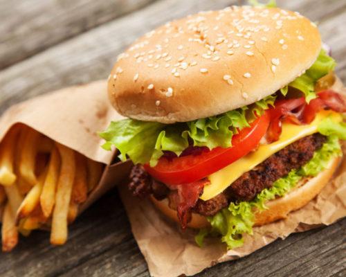 бургер и картошка фри